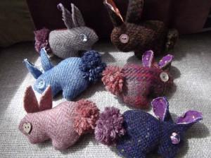 Tweed Bunny Brooches