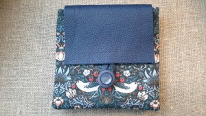 Leather flap purse made from William Morris fabric