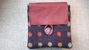 Leather flap purse made from British Abraham Moon tweed fabric