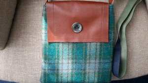Vintage Tweed fabric Leather flap Bag, with vintage button detail