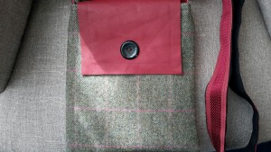 Leather flap Tweed fabric Bag, with vintage button detail