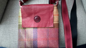 Leather flap Bag made from British Tweed fabric, with vintage button detail